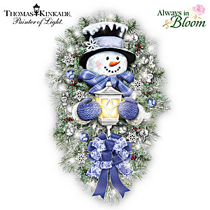 "Thomas Kinkade ""A Warm Winter Welcome"" Lighted Wreath"