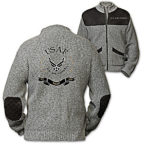 "U.S. Air Force ""Fly, Fight, Win"" Men's Knit Sweater Jacket"