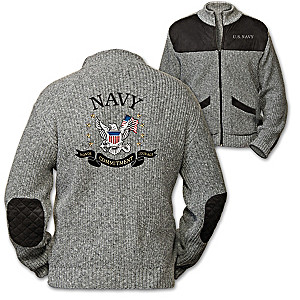 """Honor, Courage, Commitment"" Men's Knit Sweater Jacket"