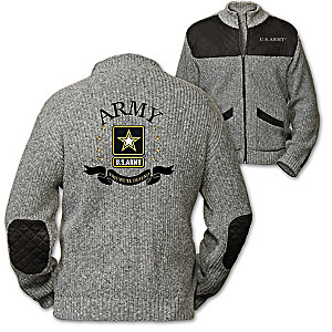 """This We'll Defend"" Men's Knit Sweater Jacket With Army Logo"