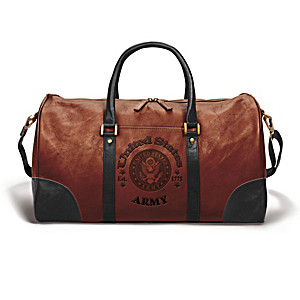 U.S. Army Embossed Leather Duffel Tote Bag