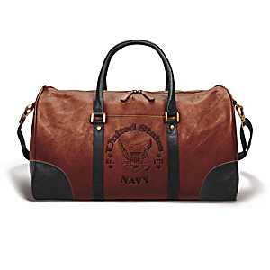 U.S. Navy Embossed Leather Duffel Tote Bag