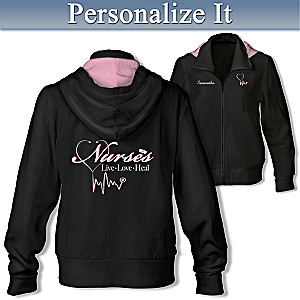 Personalized Embroidered Women's Hoodie Honoring Nurses