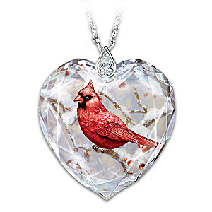 """Messenger From Heaven"" Crystal Heart Necklace With Cardinal"