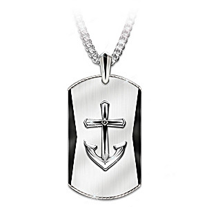 """Anchored In Faith"" Pendant Necklace For Sons"