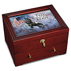 Patriotic Wooden Keepsake Box With Ted Blaylock Eagle Art