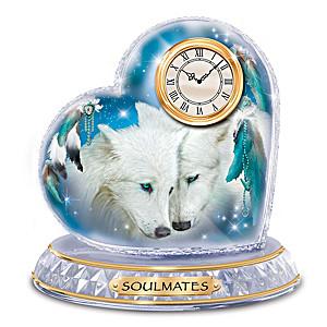 """Soulmates"" Crystal Heart Clock With Carol Cavalaris Wolf Art"