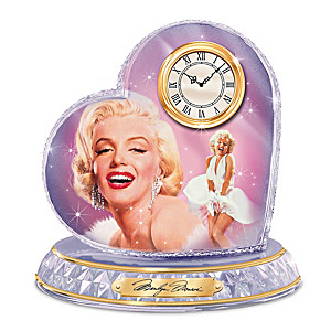 """Love, Marilyn Monroe"" Faceted Crystal Heart Clock"