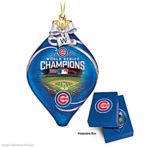 Cubs 2016 World Series Champions Lighted Glass Ornament