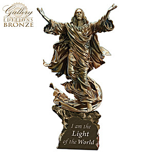 Light Of The World Religious Illuminated Cold-Cast Bronze Jesus Sculpture