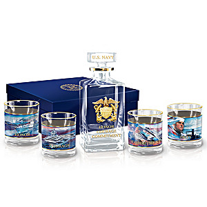 """Navy Salute"" 5-Piece Decanter Set With Dennis Lyall Artwork"
