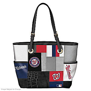 Washington Nationals MLB Patchwork Tote Bag With Team Logos