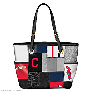 Cleveland Indians MLB Patchwork Tote Bag With Team Logos