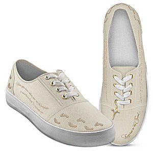 Footprints In The Sand Women's Canvas Shoes With Cross Charm