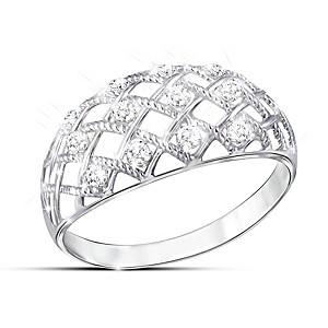 """Diamond Dazzle"" Women's Lattice Design Diamond Ring"