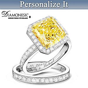 """""""Radiant"""" Personalized Diamonesk Bridal Ring Set"""