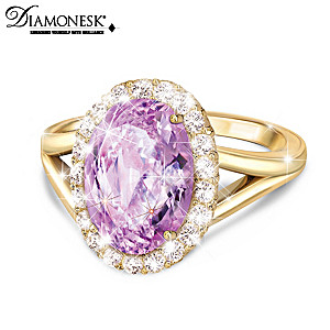 """Everlasting Gift Of Love"" Diamonesk Simulated Kunzite Ring"