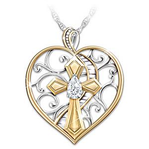"""Loving Memories"" White Topaz Remembrance Pendant Necklace"