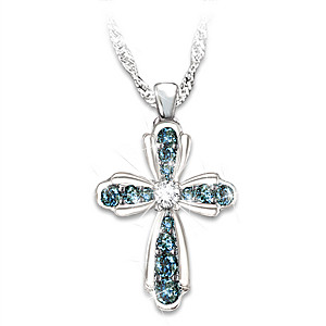 """Blessings For My Granddaughter"" Blue Diamond Necklace"