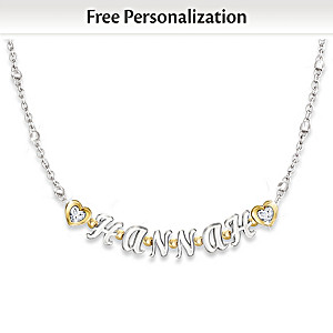 Granddaughter Necklace With Her Name In Letter Beads
