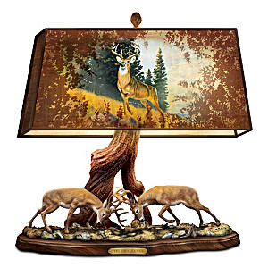"""The Wilderness Challenge"" Desk Lamp With Al Agnew Deer Art"