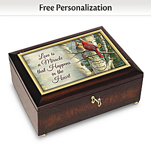 """Love Is A Miracle"" Music Box Personalized With Your 2 Names"
