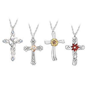 """Seasons Of Faith"" Necklace Set With Four Cross Pendants"