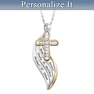 """Bless And Keep Us"" Diamond Necklace Engraved With Names"