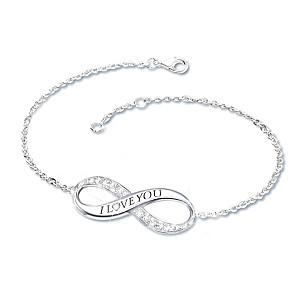 """Infinite Love"" Diamond Engraved Bracelet for Daughters"