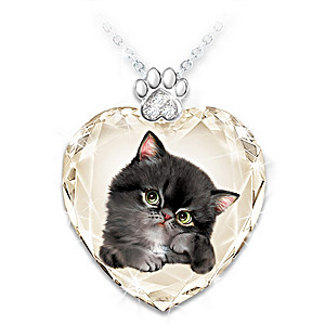 "Kayomi Harai ""Sassy Cat"" Crystal Heart Pendant Set"