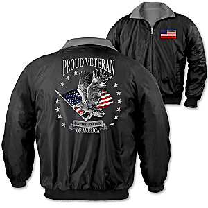 """Proud Veteran"" Men's Reversible Nylon & Fleece Jacket"
