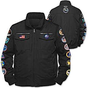 """Space Mission"" Men's Nylon Jacket With 12 Replica Patches"