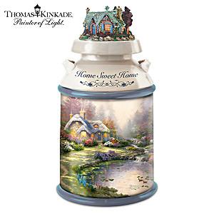 Thomas Kinkade Home Sweet Home Milk Can Style Cookie Jar