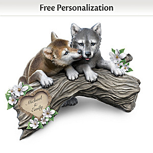 """Soul Mates"" Personalized Wolf Puppy Sculpture With 2 Names"