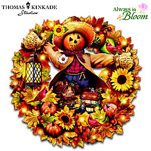 "Thomas Kinkade ""Happy Harvest Days"" Illuminated Wreath"