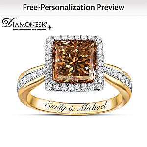 """""""Sweet As Chocolate"""" Diamonesk Ring Personalized With Names"""