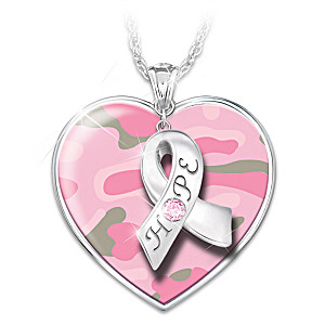 """Pink Strong"" Breast Cancer Awareness Pendant Necklace"
