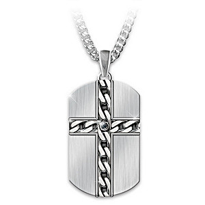 Strong & Courageous Men's Religious Dog Tag Pendant Necklace