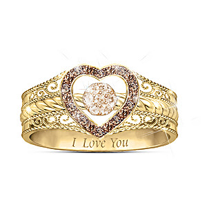 """Love Bubbles Over"" Champagne And Mocha Diamond Ring"