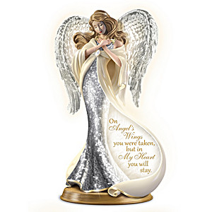 Forever In My Heart Illuminated Mosaic Angel Sculpture