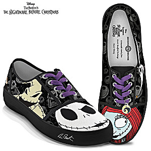 Jack Skellington & Sally Canvas Art Sneakers With Lace Charm