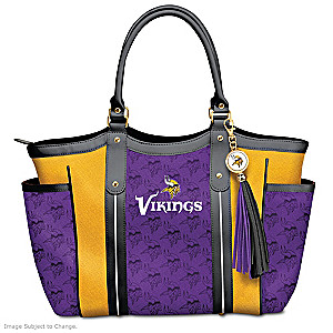 """Touchdown Vikings!"" Designer Style Shoulder Tote"