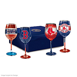 Red Sox Pride Wine Glass Set And Satin-Lined Gift Box