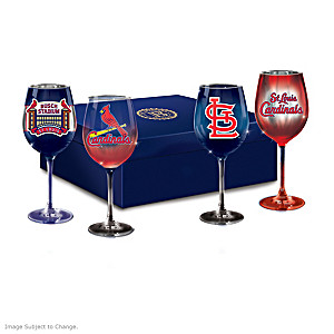 Cardinals Pride Wine Glass Set And Satin-Lined Gift Box