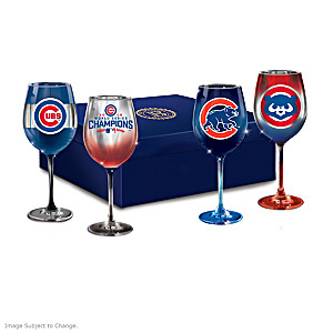Cubs Pride Wine Glass Set and Satin-Lined Gift Box
