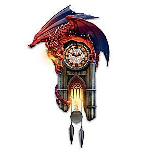 """Reign Of Fire"" Dragon Illuminated Wall Clock With Sound"