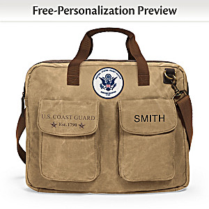 U.S. Coast Guard Personalized Canvas Messenger Bag With Name