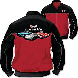 Corvette Men's Twill Jacket With Custom Corvette Art Montage