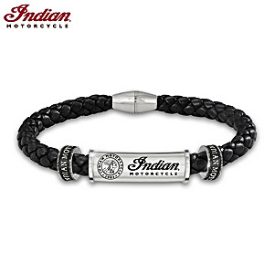 """Indian Motorcycle Legacy"" Men's Leather Logo Bracelet"