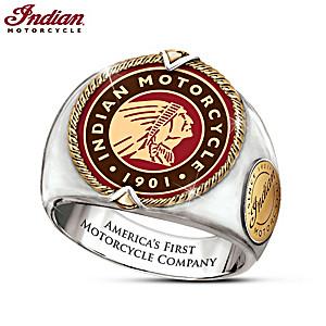 """Indian Motorcycle Legacy"" Men's Stainless Steel Logo Ring"